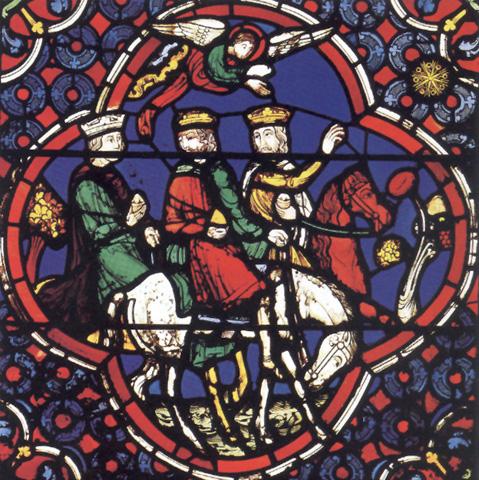 Anuncio a los Magos. Vidriera de la catedral de Lyon (siglo XIII)