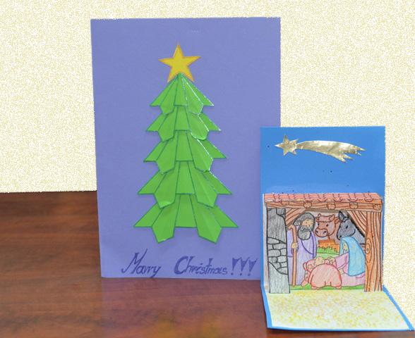 Izquierda: Alicja, 12 años, colegio Podstawowa (Inowroclaw, Polonia). Derecha: una de las tarjetas desplegables enviadas por los alumnos del colegio Zuhaizti (San Sebastián)