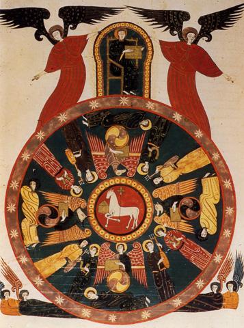 Representación de varios peregrinos medievales con la indumentaria jacobea. Foto: www.xacopedia.com