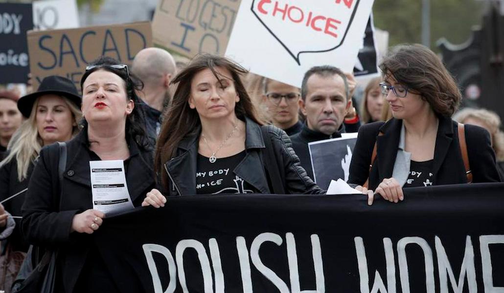 Manifestación a favor del aborto en Polonia