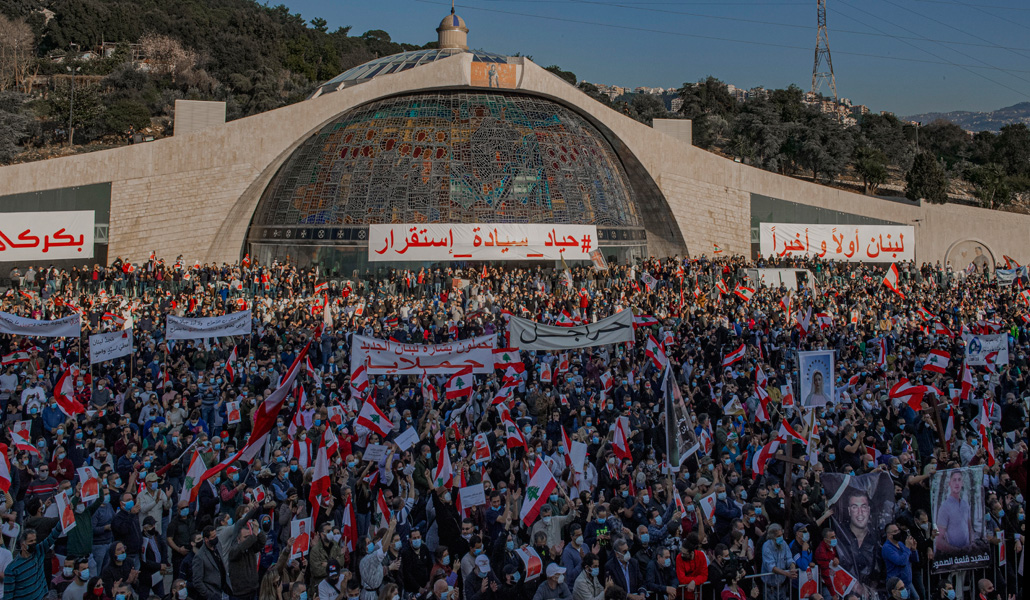Manifestación en Bkerké (Líbano)