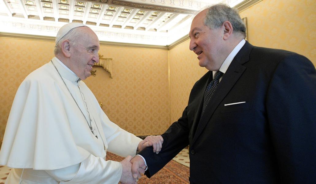 El Papa con el presidente de Armenia